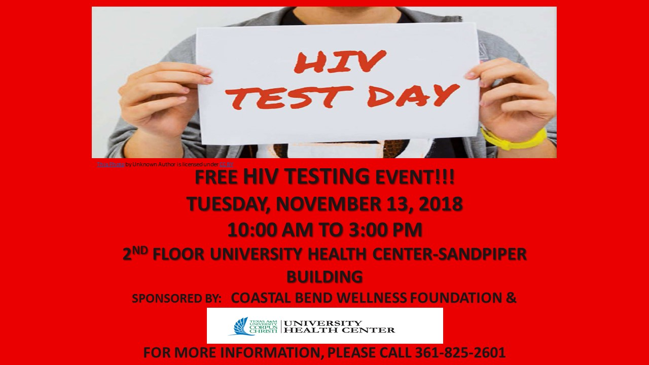 Free HIV Testing Event!! November 13th- 10am to 3pm- 2nd floor University Health Center
