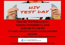 Free HIV Testing Event!!! November 13th- 10am to 3pm - 2nd floor University Health Center