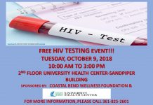 Free HIV Testing Event - October 9, 2018- 10am to 3pm- 2nd floor University Health Center