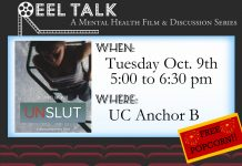 Reel Talk -sponsored by University Counseling Center- October 9, 2018- 5pm to 6:30pm - UC Anchor B