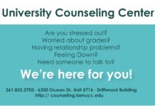 University Counseling Center Are you stressed out? Worried about grades? Having relationship problems? Feeling Down? Need someone to talk to? We're here for you! 361.825.2703 ∙ 6300 Ocean Dr, Unit 5716 ∙ Driftwood Building https://counseling.tamucc.edu