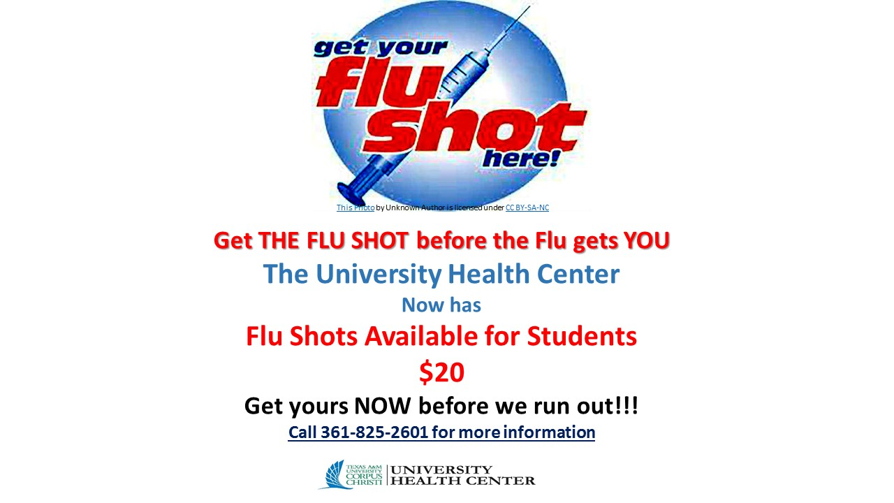 Flu Shots have arrived at the University Health Center - call for more details