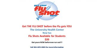 Get your flu shot at the University Health Center- call us for more details