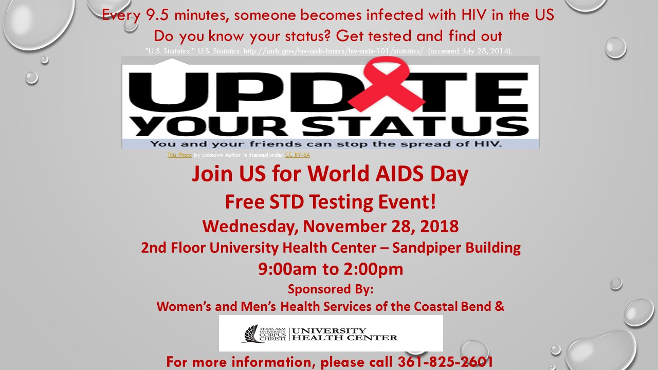 World AIDS Day! Free STD testing event! Nov 28th from 9am to 2pm- Call Health Center for more info