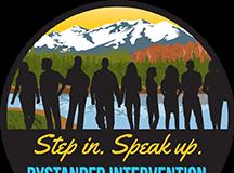 Bystander Intervention Logo: Step in, speak up.