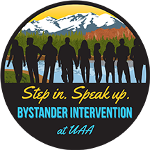 Bystander Intervention Logo: Step in, speak up.