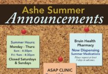 Summer Hours: Monday - Thurs: 8am - 4:30pm Fri: 9am - 4:30pm Closed Saturdays & Sundays Bruin Health Pharmacy Now Dispensing Summer Medications Please request at least 3 days in advance. ASAP CLINIC Open All Summer Available for non-routine, urgent issues; Arrive early and check in at third floor clinic station U See LA Optometry Summer Hours 9 a.m. - 6 p.m. Monday-Friday UC SHIP Spring Quarter Students have UCSHIP coverage all Summer long! Visit us online! www.studenthealth.ucla.edu Ashe Summer Announcements