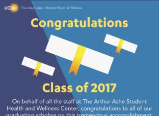 The Ashe Center   Student Health & Wellness Congratulations Class of 2017 On behalf of all the staff at The Arthur Ashe Student Health and Wellness Center, congratulations to all of our graduating scholars on this tremendous accomplishment. We've Still Got You Covered! Students that purchased UC SHIP for Spring 2017 are covered through the summer.* Students that waived UC SHIP can still utilize The Ashe Center over the summer on a fee-for-service basis. Graduating over the summer? Students graduating over the summer can continue to visit The Ashe Center for a 3-month period (1 quarter) on a fee-for-service basis. *Note: Coverage for quarter students ends the day before the Fall 2017 term. For semester students, please see your academic calendar for coverage dates. www.studenthealth.ucla.edu