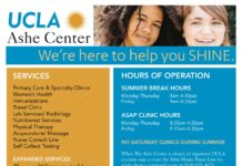 We're here to help you SHINE. SERVICES Primary Care & Specialty Clinics Women's Health Immunizations Travel Clinic Lab Services/ Radiology Nutritionist Services Physical Therapy Acupuncture/ Massage Nurse Consult Line Self Collect Testing EXPANDED SERVICES Pharmacy & Optometry in Ackerman HOURS OF OPERATION SUMMER BREAK HOURS Monday-Thursday 8am-4:30pm Friday 9am-4:30pm ASAP CLINIC HOURS Monday-Thursday 8:30am-4:30pm Friday 9:15am-4:30pm NO SATURDAY CLINICS DURING SUMMER When e Ashe Center is closed, all registered UCLA students may contact the After Hours Nurse Line for advice from a registered nurse at (310) 825-4073. ASHE EXTENSION LOCATION SUMMER HOURS U SEE LA OPTOMETRY (Ackerman Union, B-Level): Mon-Fri: 9am - 6pm BRUIN HEALTH PHARMACY (A-Level) Mon-Thurs: 8am - 4:30pm, F: 9am-4:30pm SUMMER CARE Remember that if you are accessing UCSHIP benefits and seek care away from campus, you will need a referral. For information on how to obtain a summer referral, visit The Ashe Center Insurance website and click the Summer tab for more info. SCHEDULE AN APPOINTMENT ONLINE: www.studenthealth.ucla.edu BY PHONE: (310) 825-4073, option 1, 1 IN-PERSON: 1st Floor Scheduling Station STAY CONNECTED FOLLOW: twitter.com/UCLAAsheCenter All registered UCLA students can access services at The Ashe Center. Visit the Ashe website Fees and Eligibility page for pricing details. All charges are billed directly to students' BruinBill accounts. www.studenthealth.ucla.edu