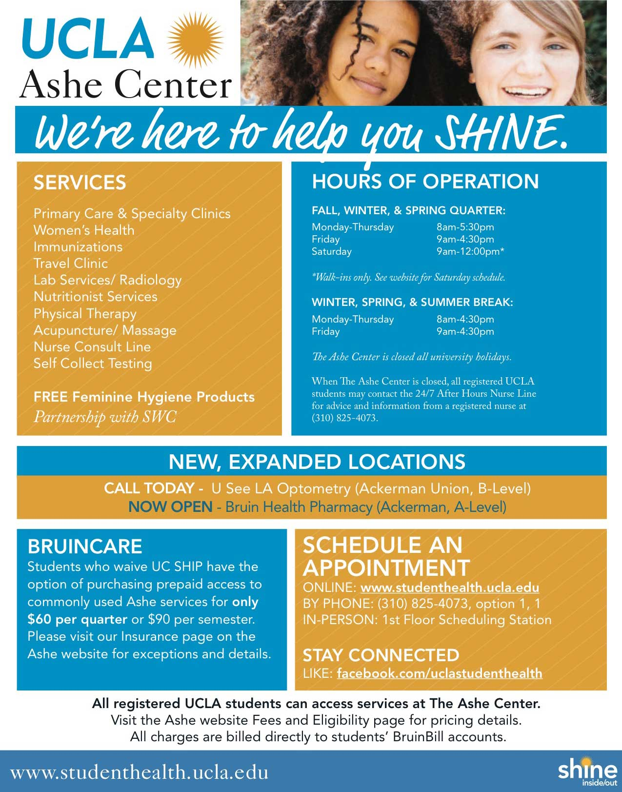 UCLA Ashe Center: We're here to help you SHINE.