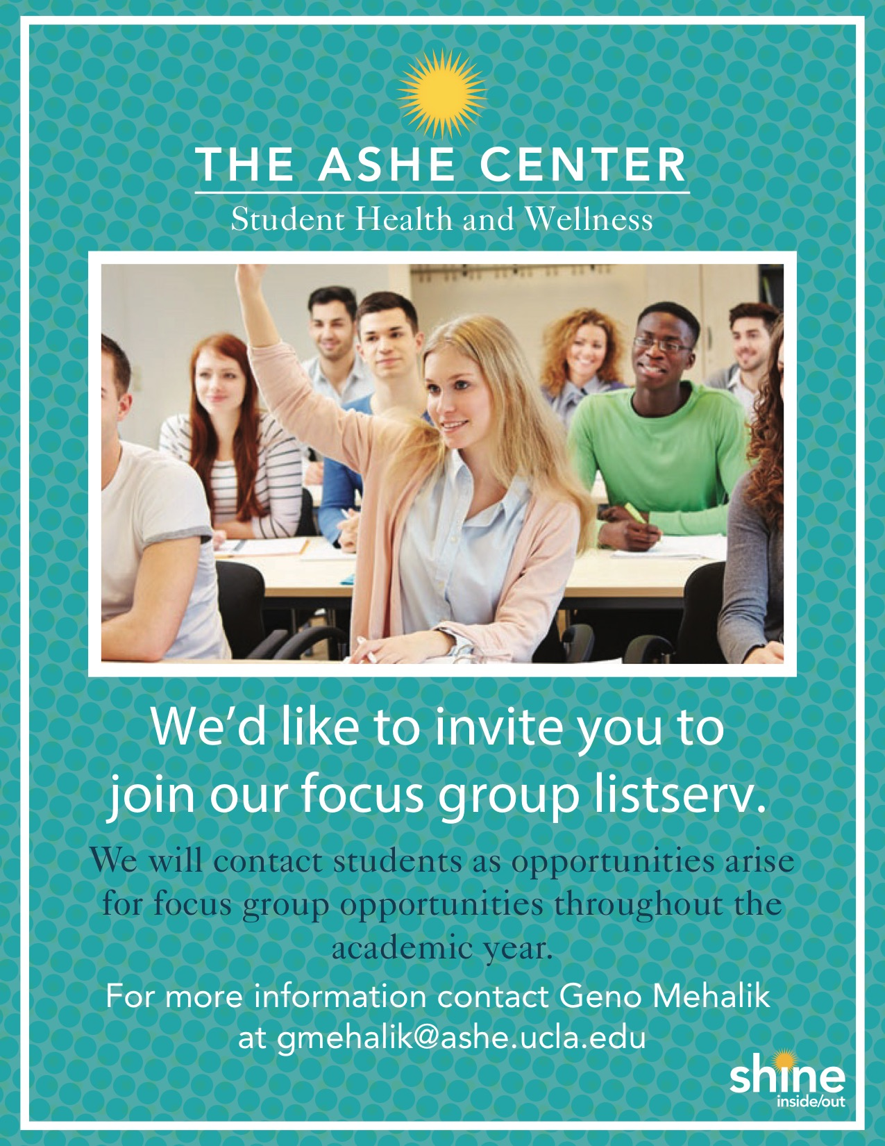 Ashe Center Student Health Focus Groups