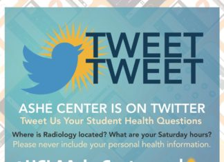 TWEET TWEET ASHE CENTER IS ON TWITTER Tweet Us Your Student Health Questions Where is Radiology located? What are your Saturday hours? Please never include your personal health information. @UCLAAsheCenter This month's question: How do you stay healthy with your busy class schedule? Tweet your answer to us using the hashtag #RTashe and we'll pick 5 winners for a prize pack. FOLLOW US TWEET US WIN