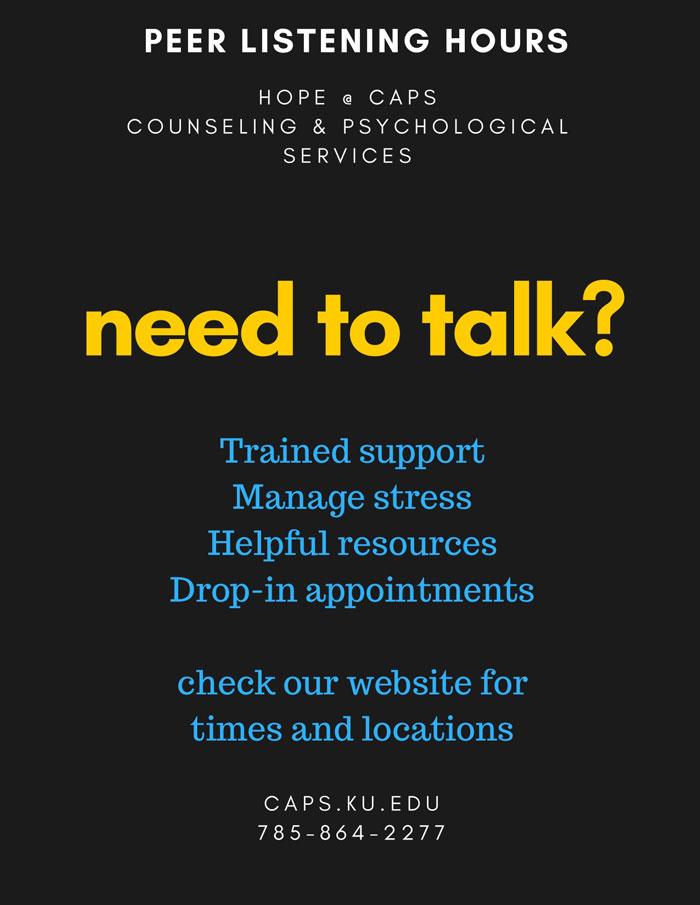 HOPE@CAPS Mental Health Peer Educators active listening hours