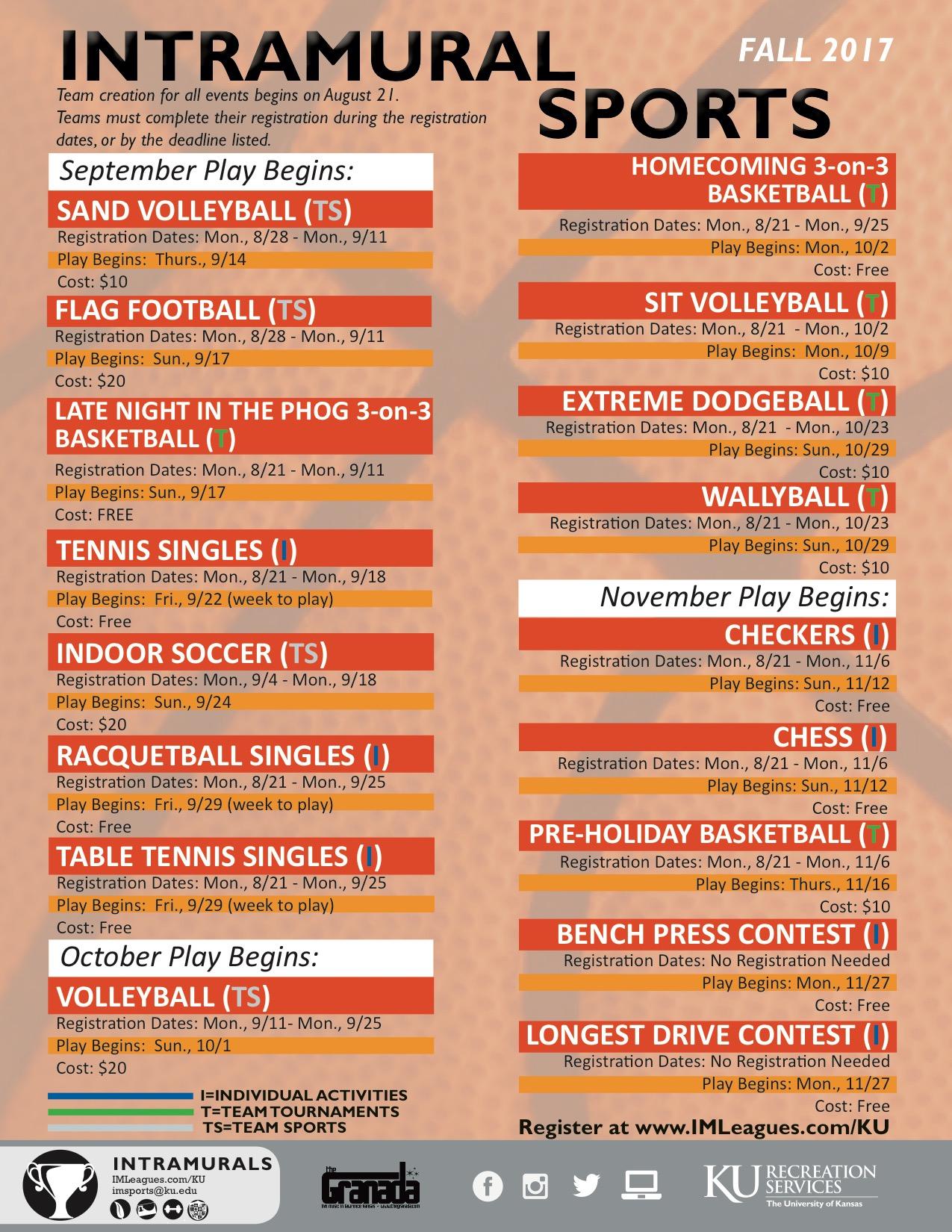 Intramural Schedule Fall 17