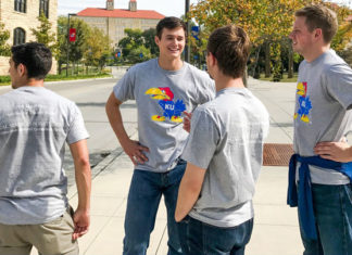 Male-college-students-wearing-KU-t-shirts