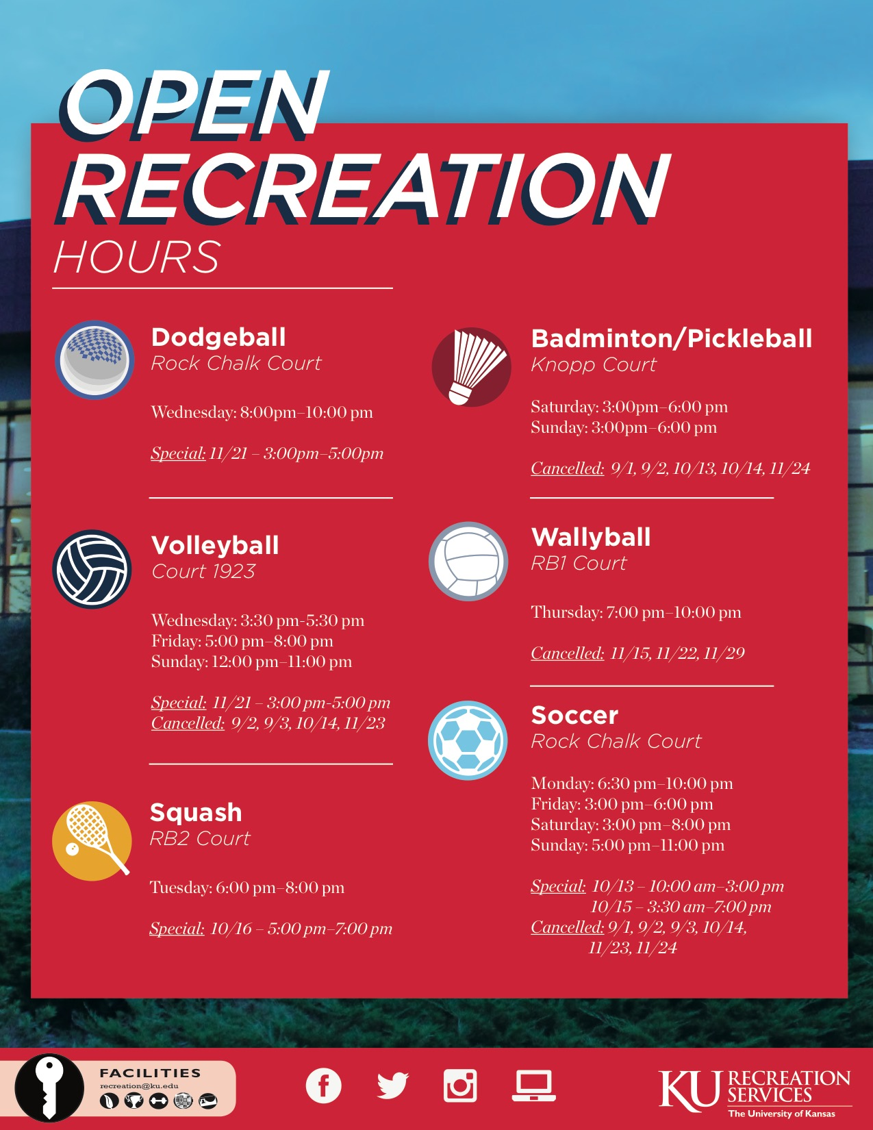 Open Recreation Hours