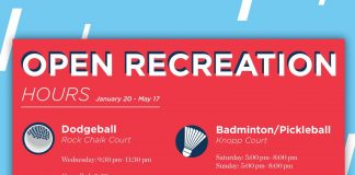 Open Rec Hours for Spring 2019