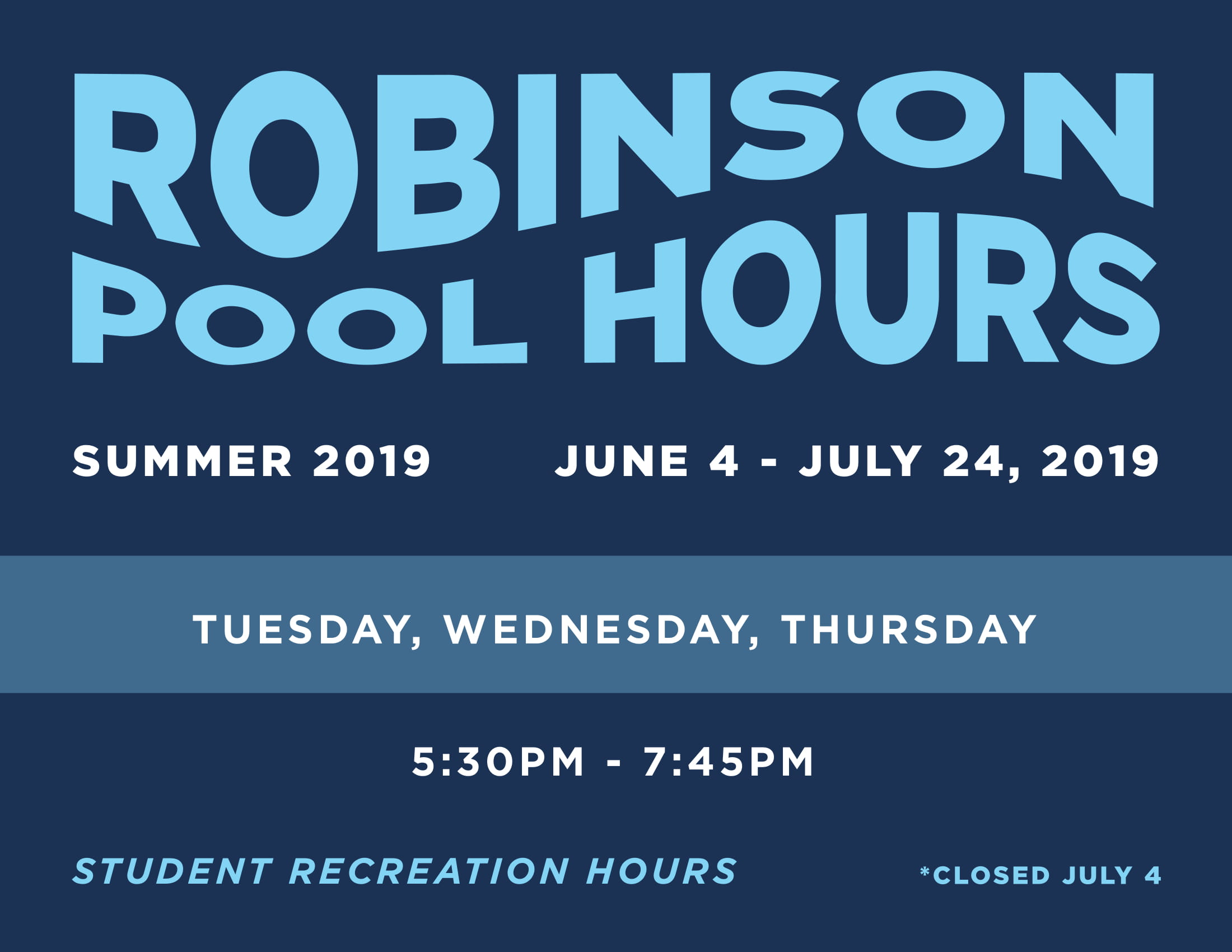 Robinson Swimming Pool Hours