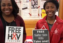 Two women promoting safer sex