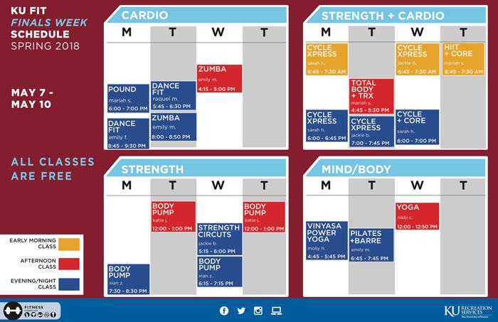 Finals Week KU Fit Schedule