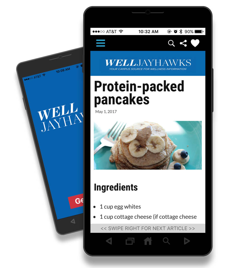 WellJayhawks Mobile App on an Android Phone