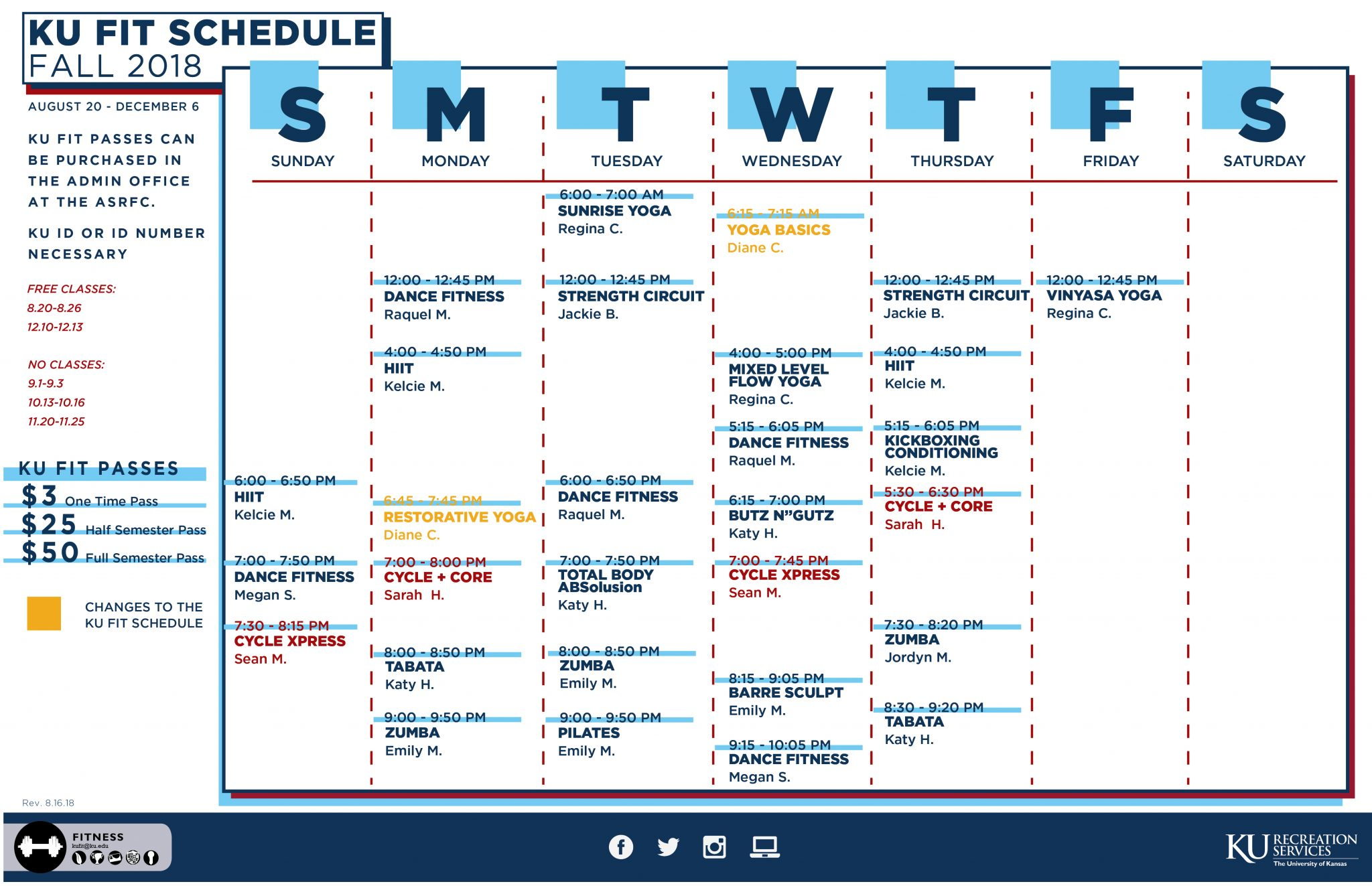 Fall KU Fit Group Fitness Schedule