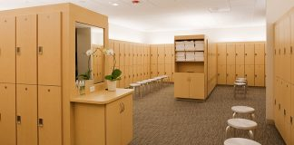 Stock photo of locker room