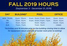 Rec Center Fall 2019 hours