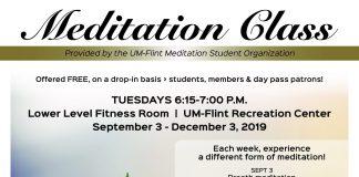 Meditation Class held Tuesday Fall 2019 Semester