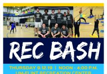 Rec Bash Welcome Back event: free tshirts for students, swag, demos, info, etc.