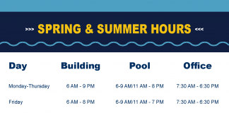 Spring and Summer 2019 Rec Center hours