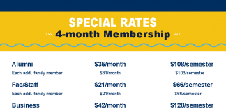 Spring and Summer 2019 Rec Center 4-mo membership rates