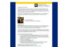 Dean of Students health care resources letter - page 1