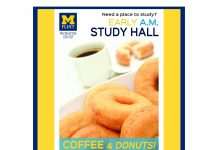 Morning study hall with coffee and donuts at Rec