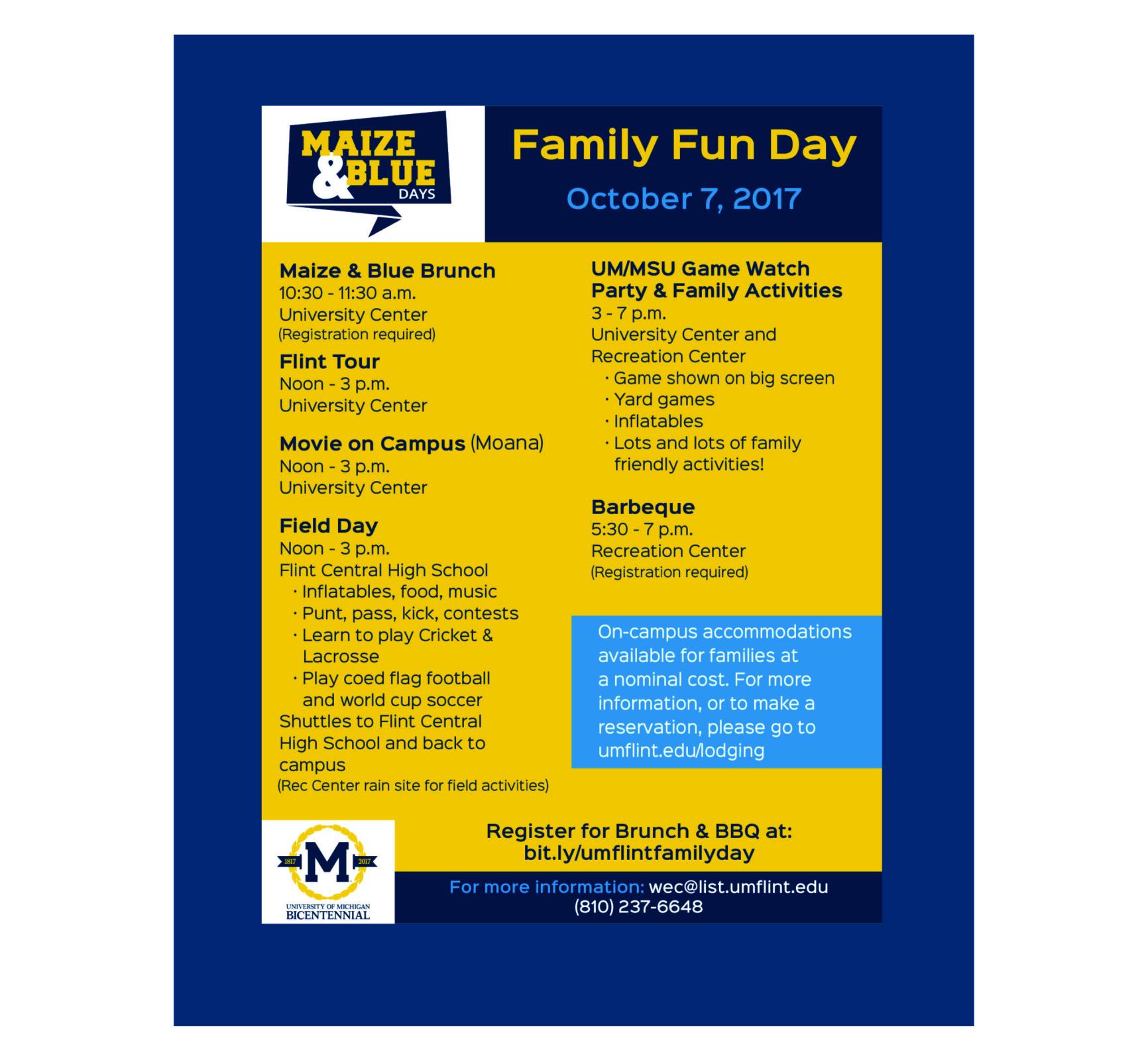 Family Fun Day is October 7, 2017