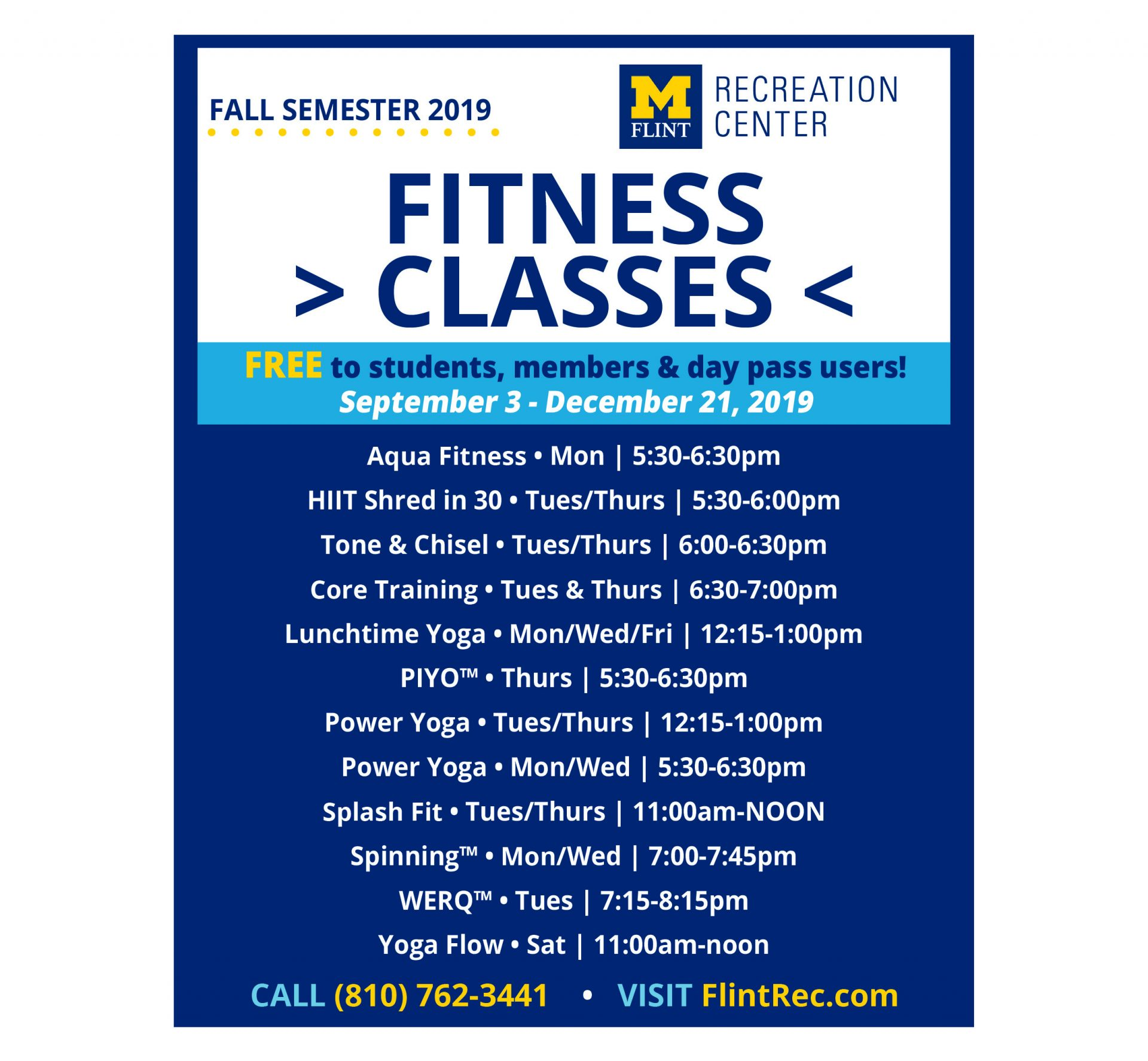 Fall 2019 Fitness Class Schedule