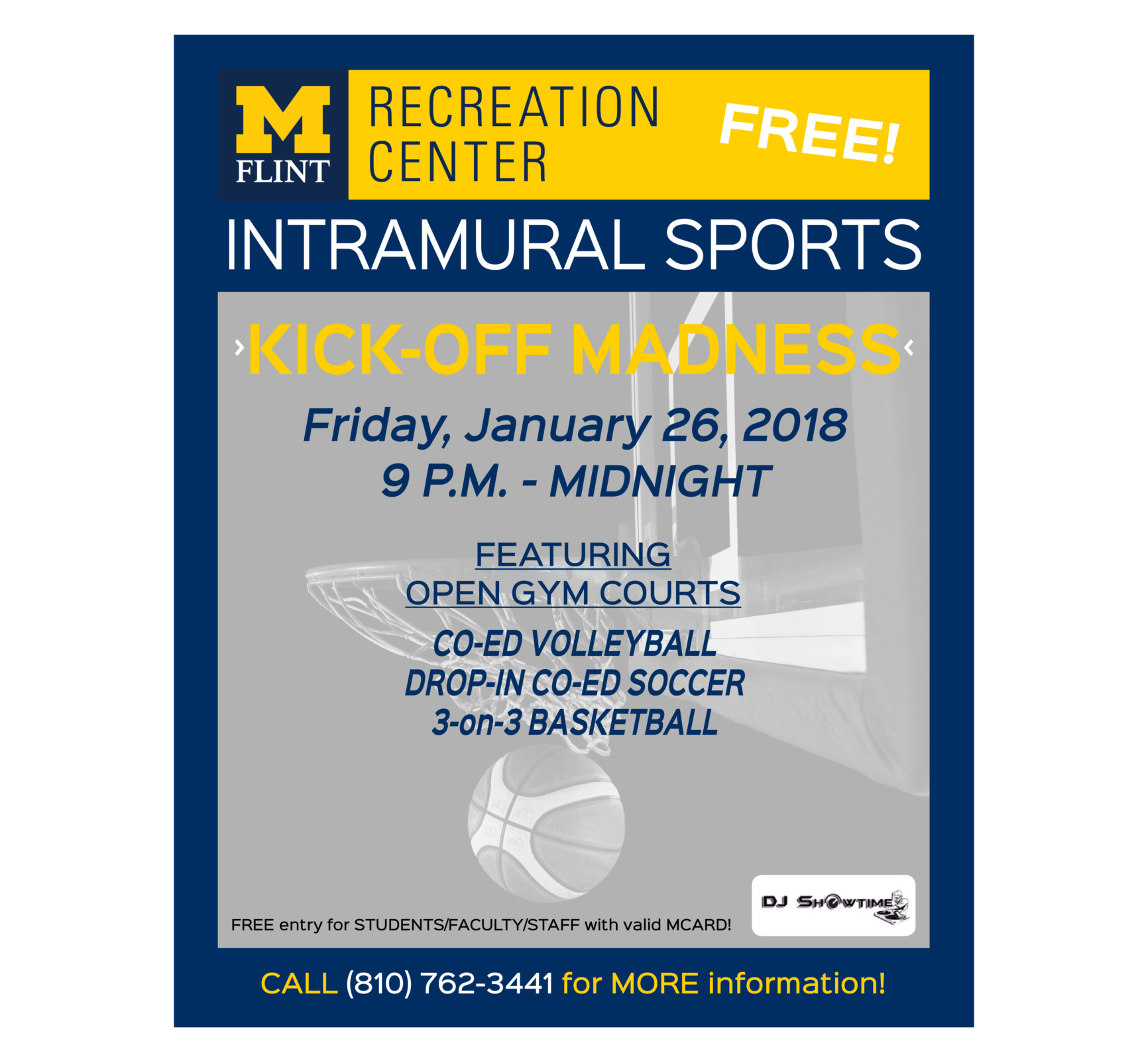 Kick off party for intramural sports - soccer, volleyball, basketball