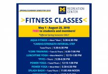 Spring and summer fitness class schedule