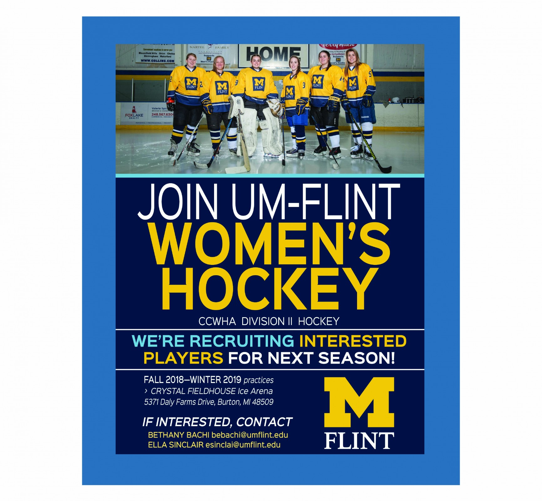 Women's Ice Hockey is recruiting for next season