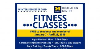 Winter 2019 schedule for Fitness Classes