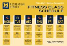 Fitness Class Schedule - Fall 2021
