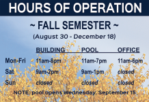 Fall 2021 Hours of Operation
