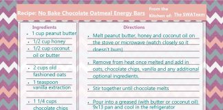 No Bake Chocolate Oatmeal Energy Bars