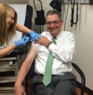 College-Chancellor-Getting-his-Flu-shot