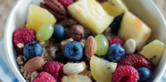 Oatmeal, almonds, and fruit