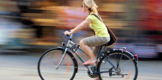 Person biking to class