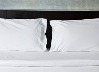 bed with two pillows