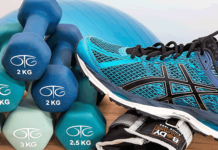 sneakers-dumbells-exercise-ball