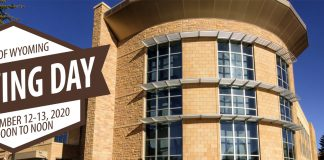 Text: University of Wyoming Giving Day November 12-13, 2020 noon-noon. Half Acre Recreation facility.