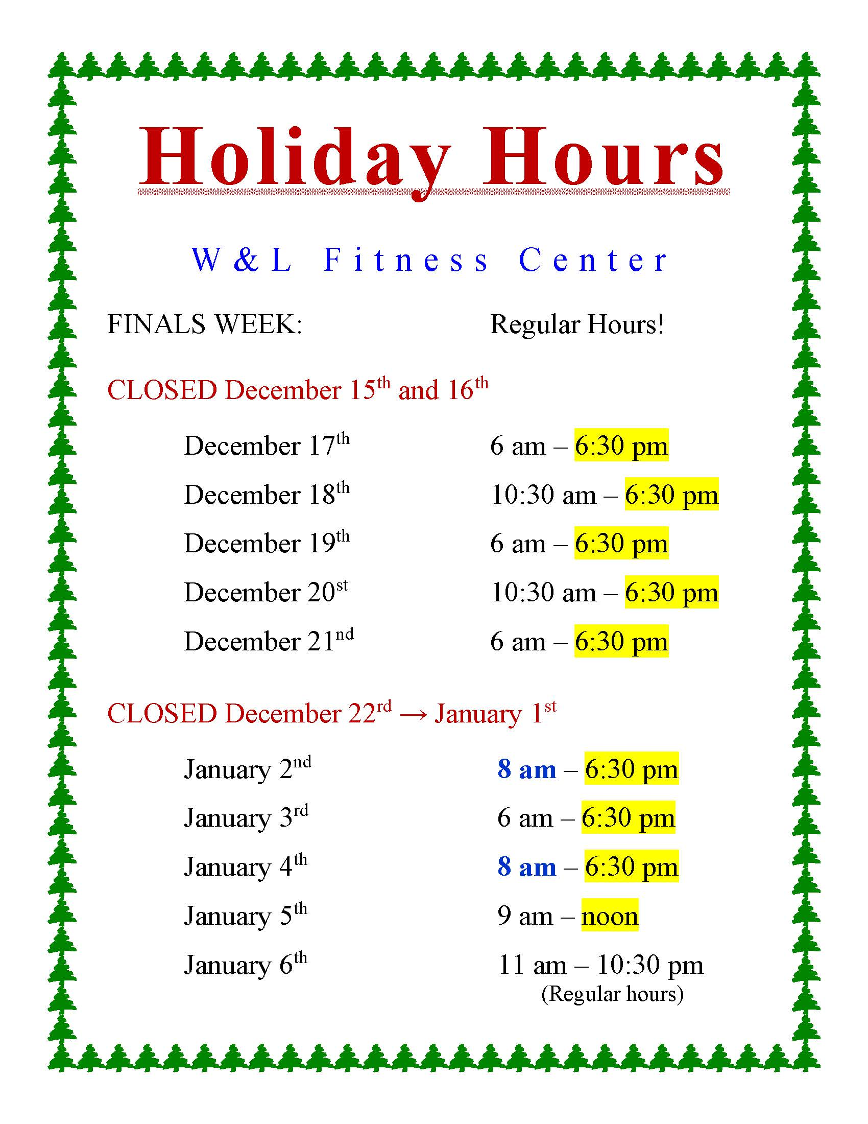 Fitness Center Holiday Hours